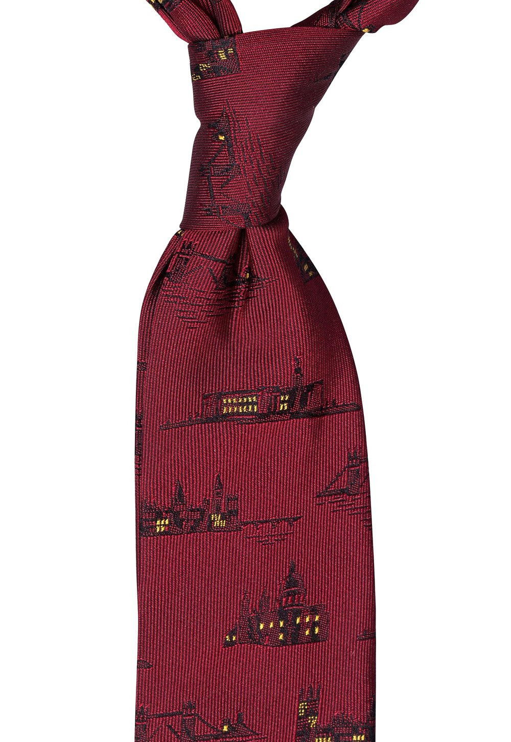Mr. London Tie. The closest to red you can purchase is the Mr. London tie, which has a rich burgundy colour with black victorian famous London landmarks. Read more about it here in last weeks post.