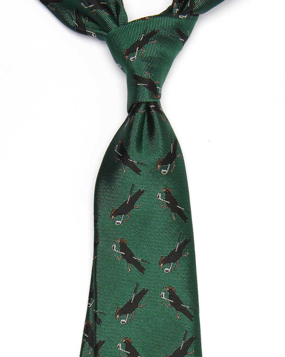 The Ernst Crow Tie. A lady likes nothing more than a gentleman who has a sense of humour! This tie will not make her laugh directly but will hint at the fact that you are playful at heart. This rich emerald green tie would be perfect for your partner if they love to play golf! Click on image for more information.