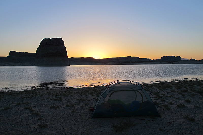 Adam woke up for the sunrise, thankfully, or I wouldn't have known how beautiful it was. I am the blob still snoozing in the tent.
