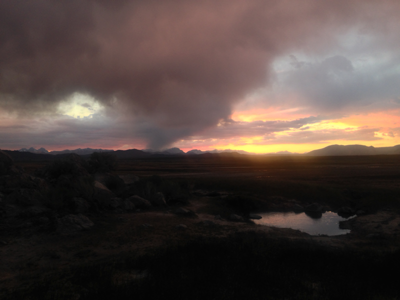 By sunset, the storm would be on it's westward way and it made for the best soaking view at the hot springs.