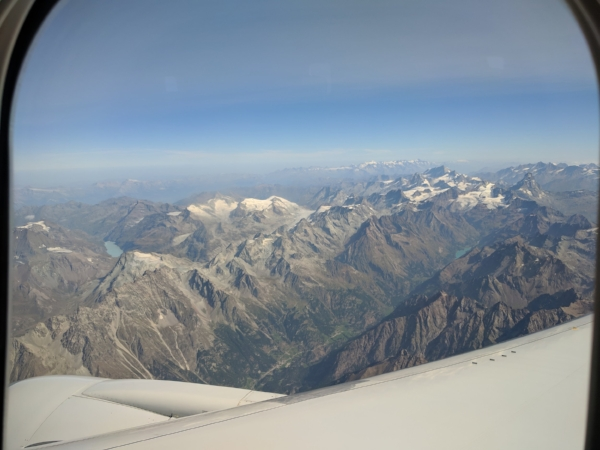 The view of the Dolomites shortly after take-off from Milan.