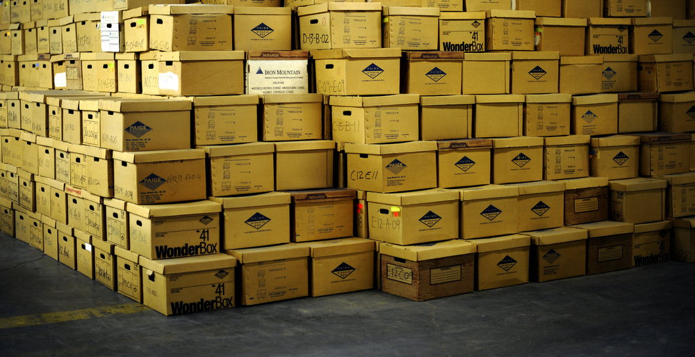 Pyramids of boxes, corridors echoing with silence, invisible occupants seated in empty chairs, conference rooms once humming with air-condition and voices, sleek, modern furniture now old and discarded in remote corners, shelves full of emptiness, unexpected islands of color in a sea of corporate beige.