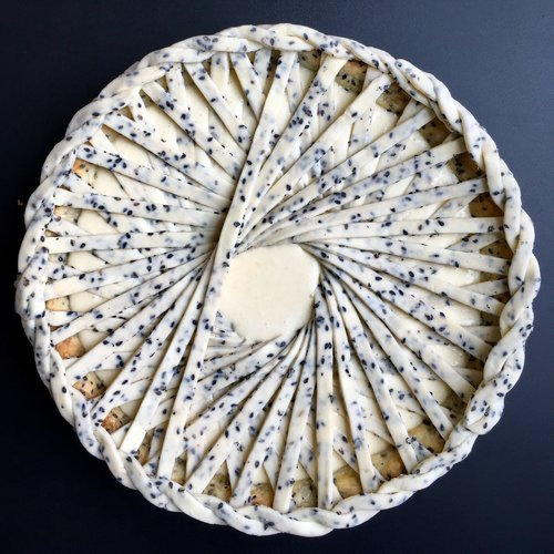 - miso white carrot pie with black sesame crust