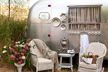 This is Mary Jane's refurbished Airstream. It has a claw foot tub inside.