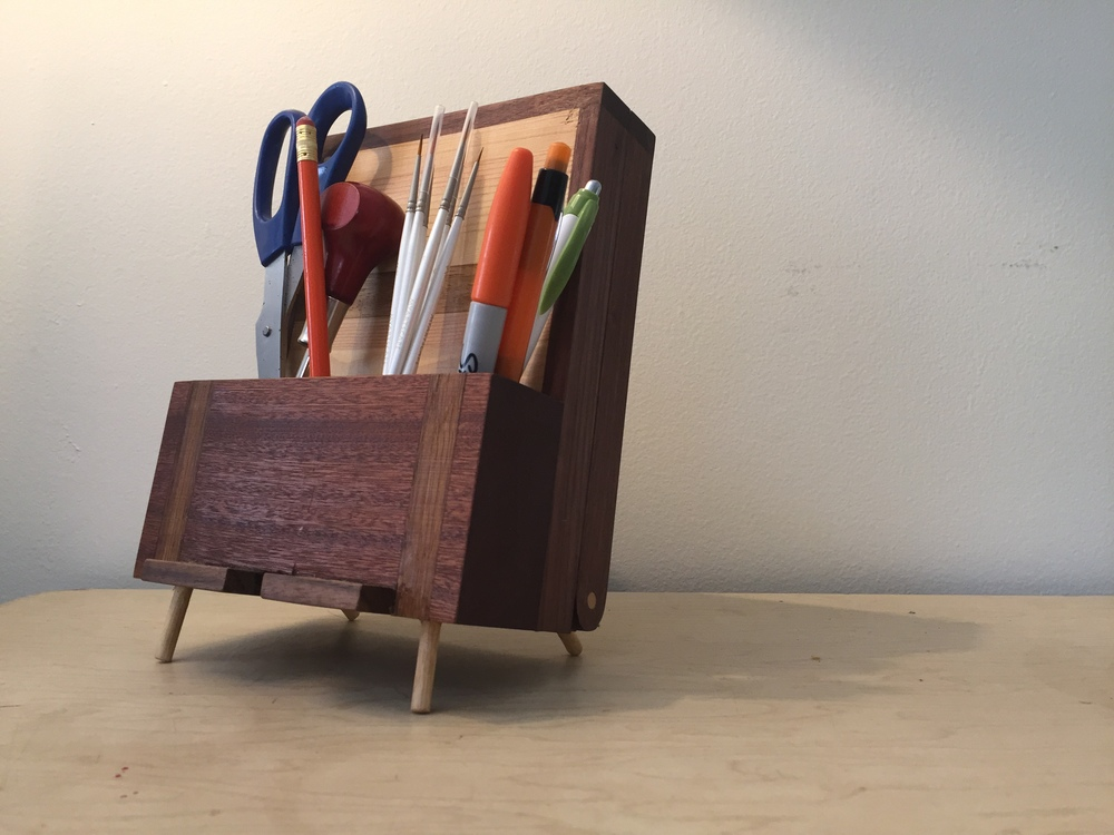 Custom Desk Caddy W/Phone Stand (& Secret Flip Down Rear Compartment)