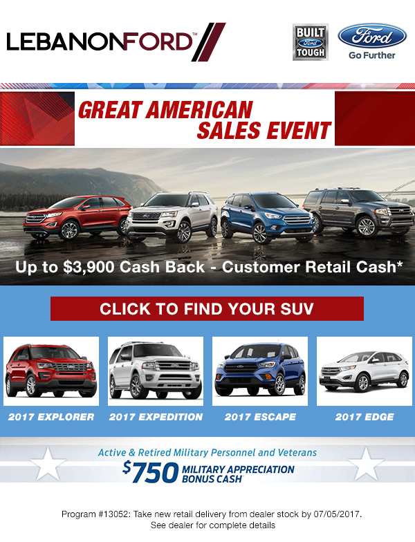 Lebanon Ford Email - I designed this email for Lebanon Ford car dealership to promote their sales event while driving traffic to their selection of SUVs.