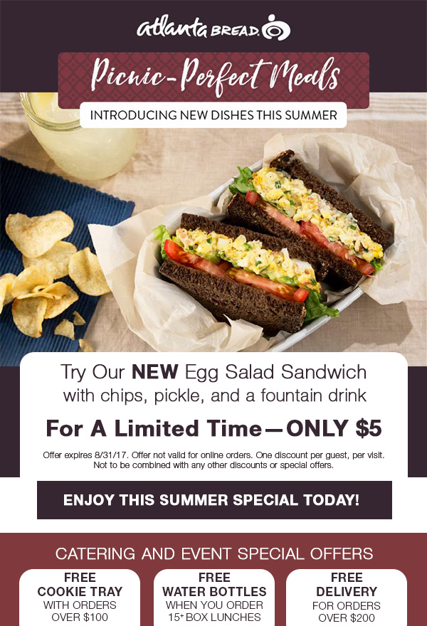 Restaurant Promo Email - I designed this email for Atlanta Bread to promote their new sandwich combo deal along with a variety of catering and event specials.