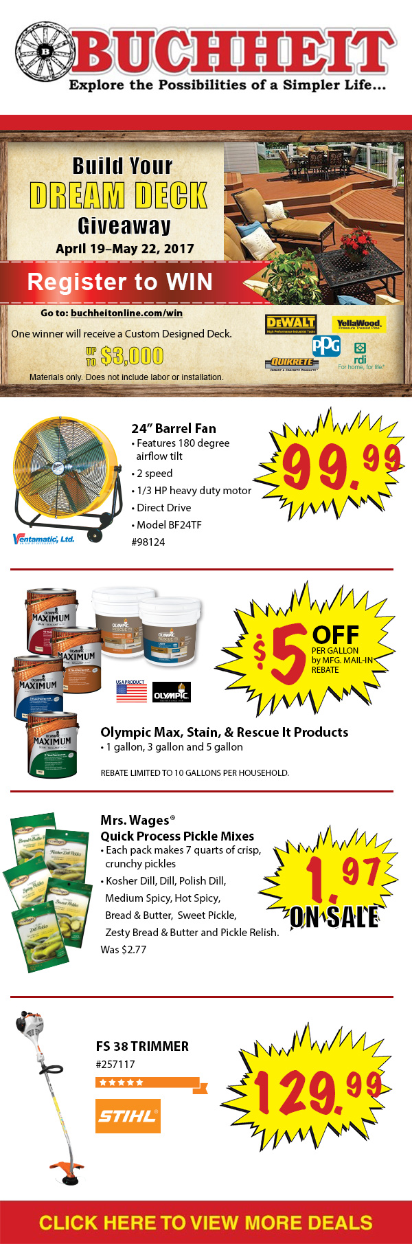 Retail Promo Email - I designed this email for Buchheit to promote their Dream Deck Giveaway, and weekly sales. Driving subscribers to their website and stores. I used their logo and branding to create a clear and product focused promotional email.