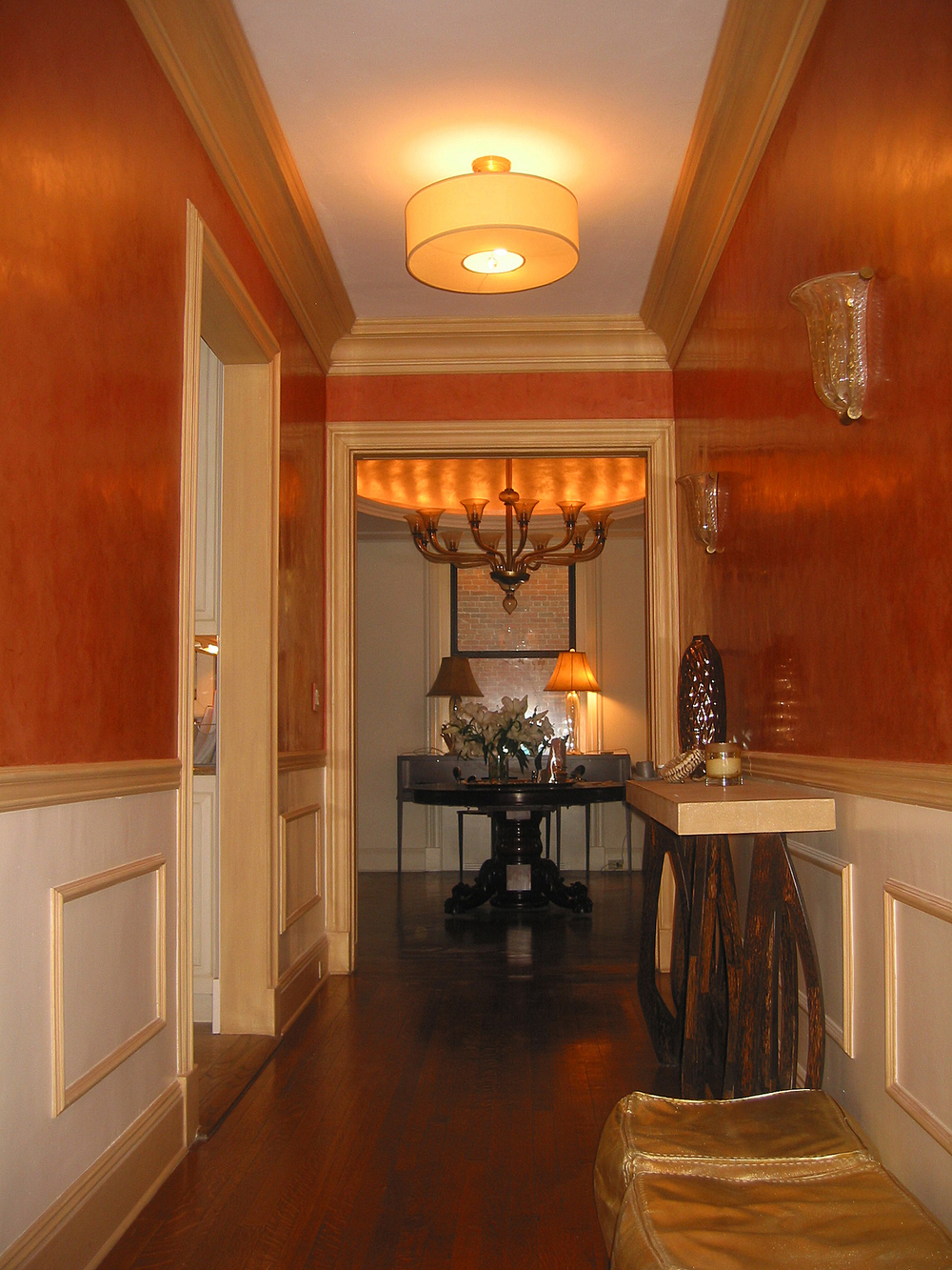 Salmon Venetian Plaster with Tinted Wax