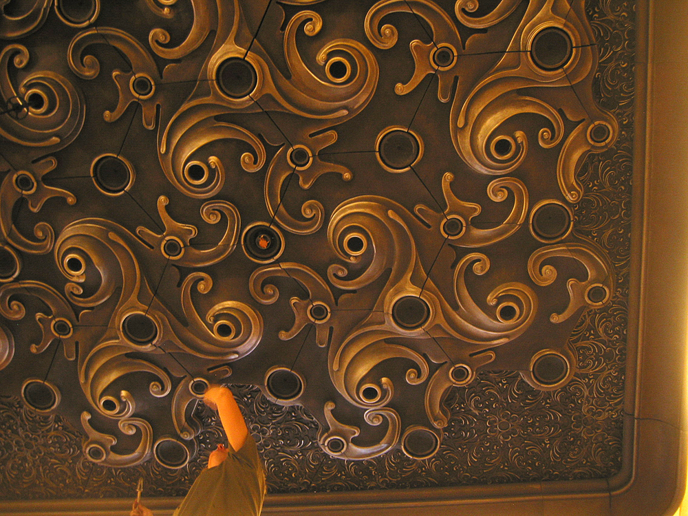 Metallic Paint and Glaze on Plaster Relief Ceiling