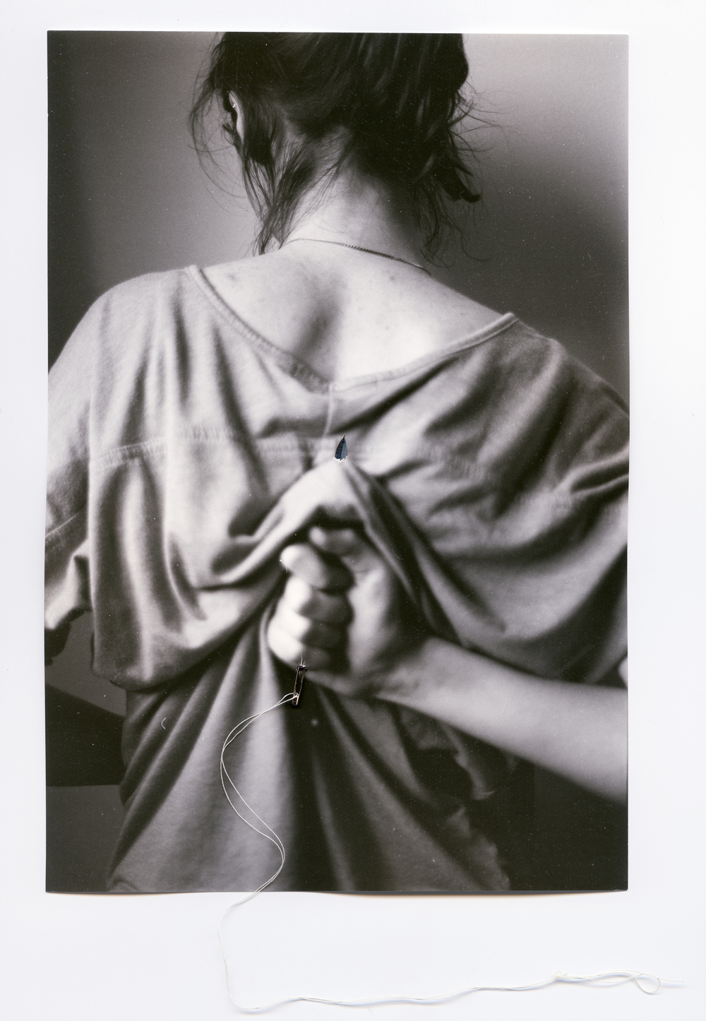 Ridding     Silver Gelatin Print, Thread, Needle, 2014