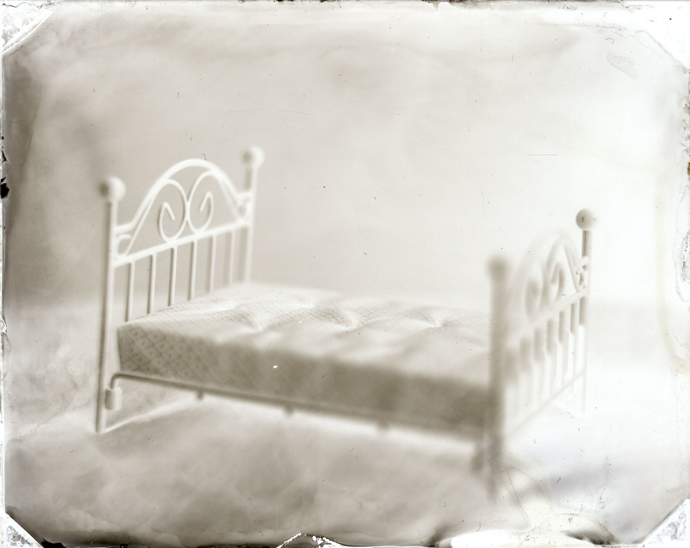Frame and Mattress    Wet Plate Processes using White Tin