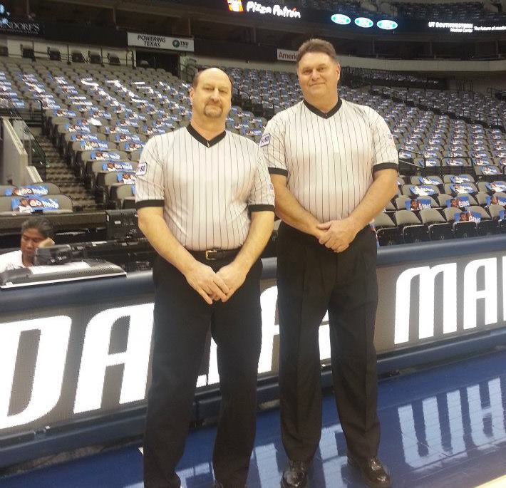 Bart Millsap (left) refereeing with colleague at the American Airlines Center in Dallas, TX.