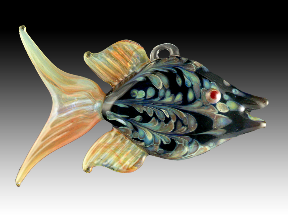Flamework glass angel fish hanging ornament