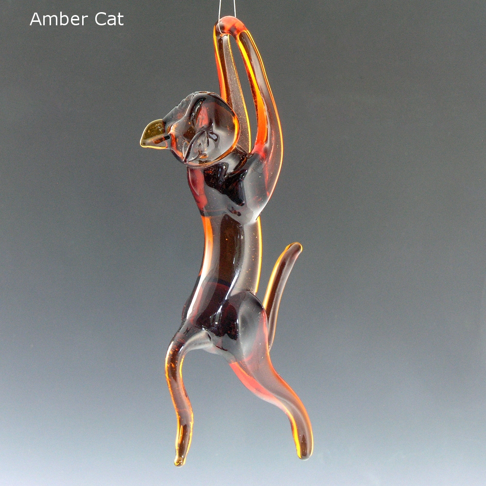 Glass animal ornaments - Flamework Glass Cat Hanging Ornament