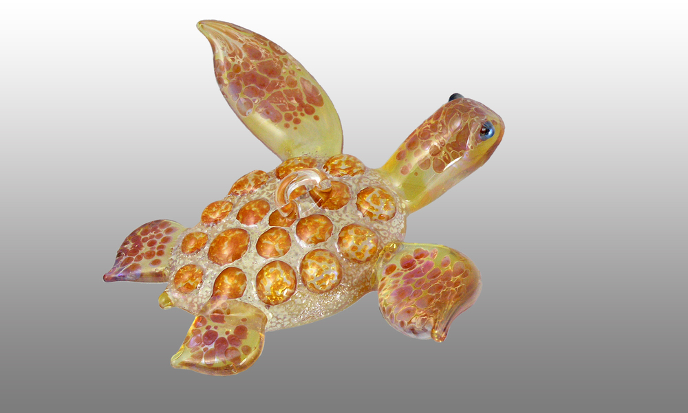 glass sea turtle hanging ornaments