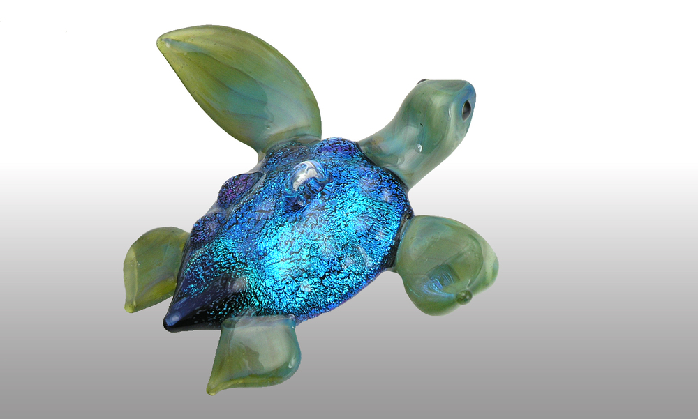 Dichro glass sea turtle hanging ornaments