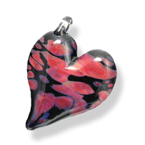 wearable glass heart pendants