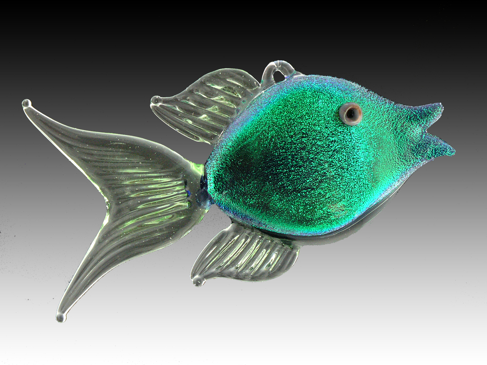 flamework dichroic glass angel fish ornament