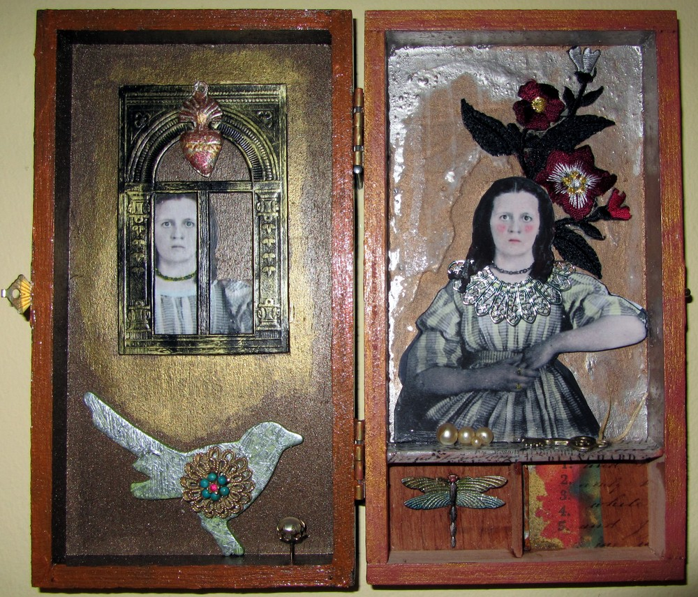 InHERitance    8.5 X 7.5 X .5 inches   A small wooden cigar box with found/altered objects and images.