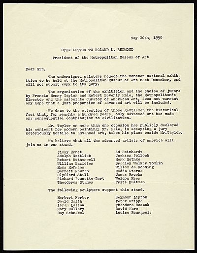 "In 1950, James Brooks was among a group of 18 artists who sent this open letter to the president of The Metropolitan Museum of Art, rejecting the museum's exhibition ""American Painting Today - 1950,"" and boycotting the accompanying competition. They were quickly dubbed The Irascibles, and subsequent media coverage popularised the term Abstract Expressionist and established them as the first generation of the new movement . ~  Wikipedia"