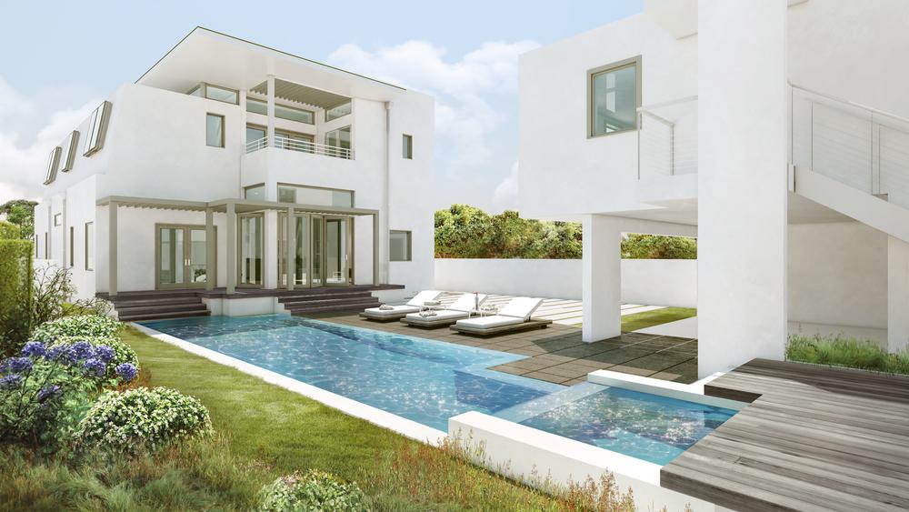 Rear facade, pool, carport, & artist studio. Rendering by  fAS