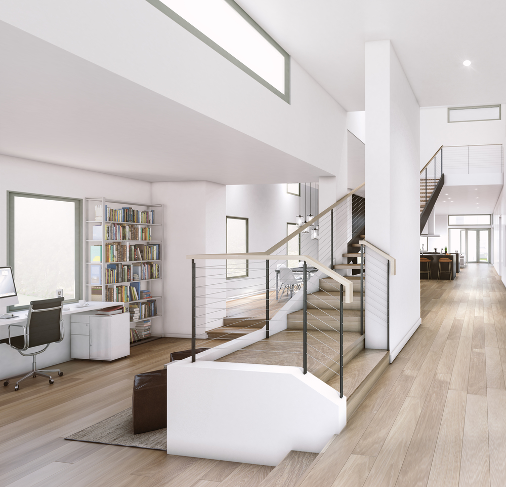 Interior, facing West from front door. Library, stairs to 2nd level,Dining Room, Kitchen, Great Room visible. Rendering by  fAS