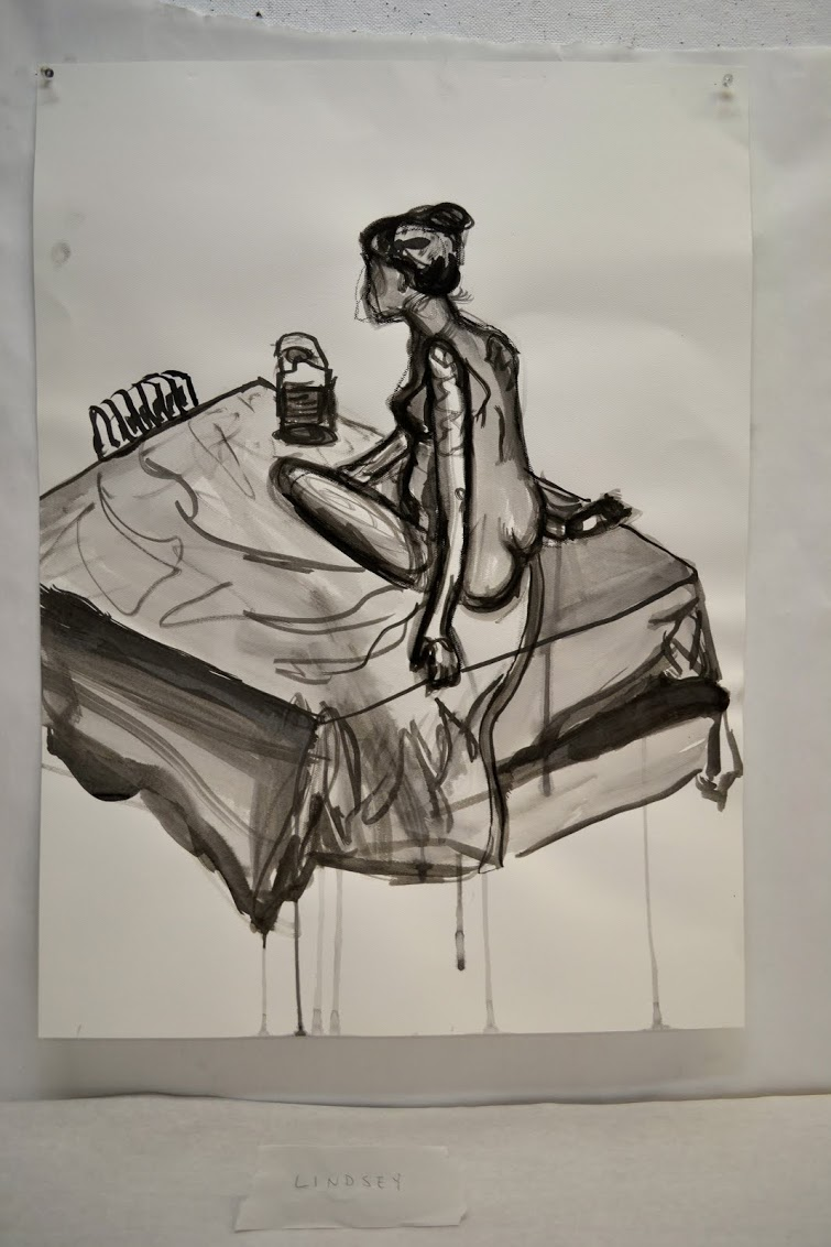 high school- ink and water painting from live model.