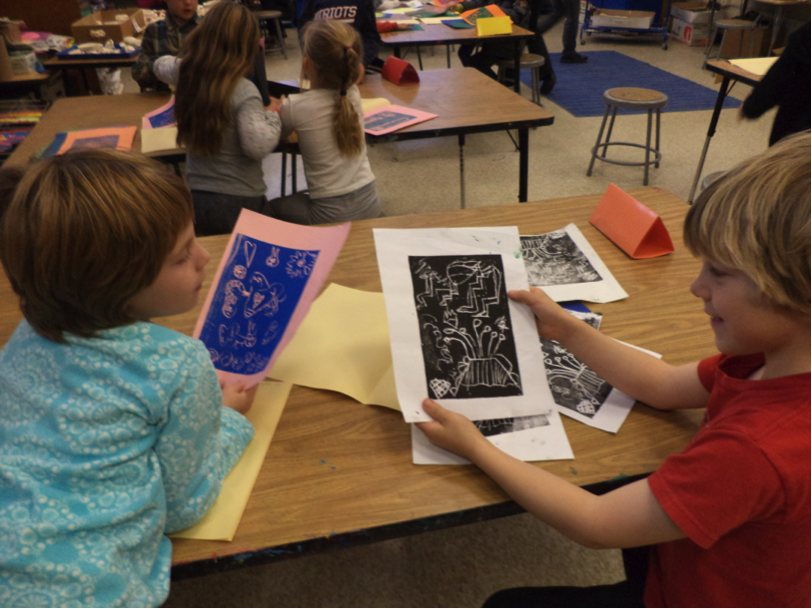 1st graders sharing prints