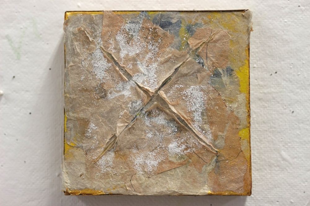 "oil paint, hand made paper on canvas. 6""x6"", 2013"