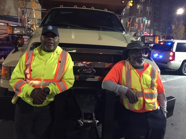 The Chapel Hill City workers keeping us safe!  These gentlemen have been working the Downtown Halloween Party for 25 years!