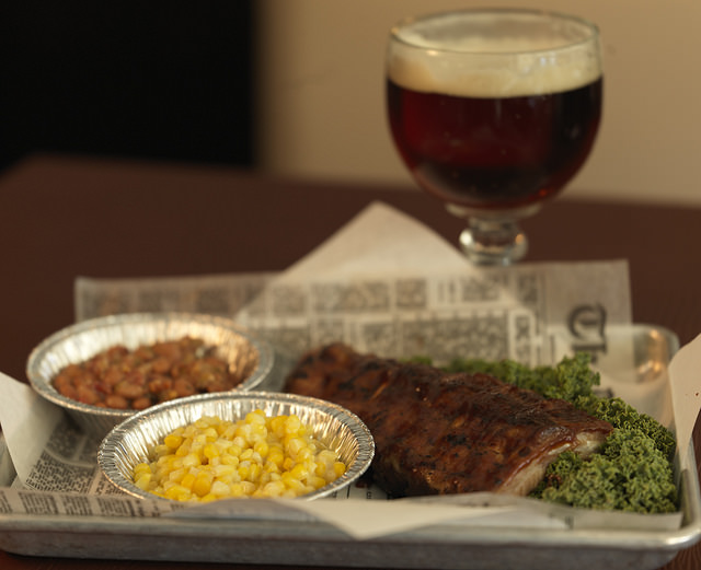 BBQ Ribs with Green Chili Creamed Corn and Borracho Beans