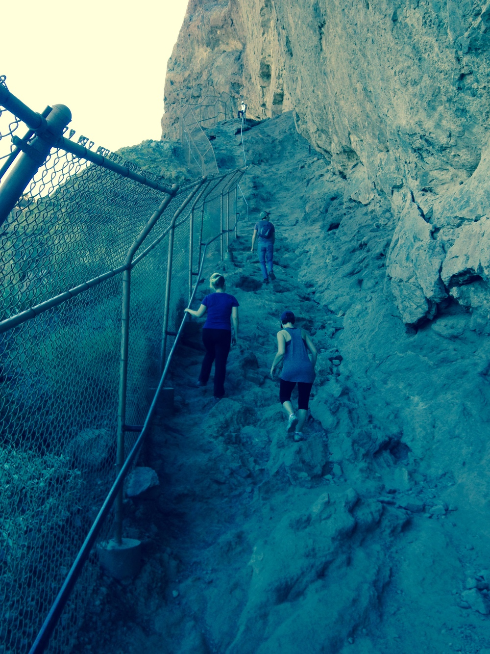 "First ""vertical"" climb.  Where are the switchbacks?"