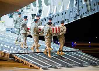 Dignified transfer of a fallen soldier arriving at Dover Air force Base  photo credit: US Air Force mortuary affairs operation