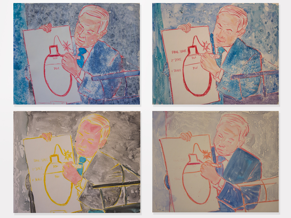 Guy Ben-Ari, United Nations Speech I - IV, 2015, watercolor monotype, 9 x 11 inches each