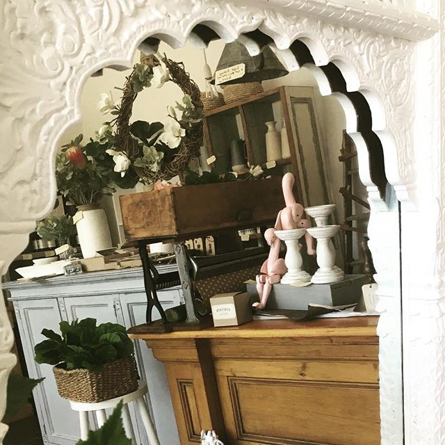 Mirror, Mirror on the wall... A snapshot of the shop today. #thingsilove #paintedfurniture #vintagestyle #flowers #pinkflamingos  #carvedmirror