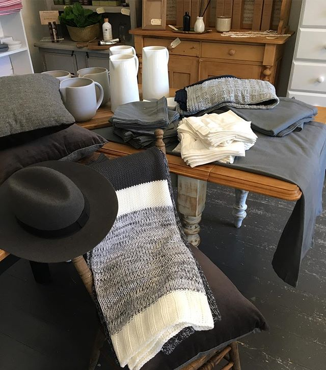 Calming grey, white and natural wood. Gorgeous new tableware has arrived. #homewares #ceramics #washedcotton #elmboards #throws #vintagestyle #coastalstyle #baysidebusiness #baysidemelbourne