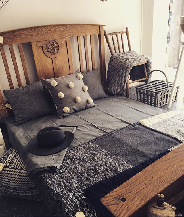 For an itsy bitsy shop, I can still make room. There's a double bed in the shop!!' #vintageshop #vintagestyle #woodenbed #greylinen #throws #cushions #pompomcushion #needanap #baysidebusiness #baysidemelbourne