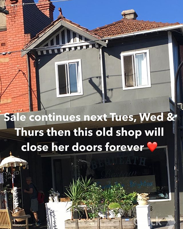 Yes it is true. Last few days #closingdown #movingon #newadventure #vintageshop #vintagestyle #homewares #melbournestylist #goodbyebrighton #baysidebusiness #baysidemelbourne #thankyou #willmissmycustomers