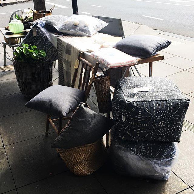 Sidewalk sale today to sell the last few things.. #grababargain #sidewalksales #closingdown #vintageshop #vintagestyle #ottoman #cushions #shadesofgrey #baysidebusiness #bayside #goodbye #thankyou