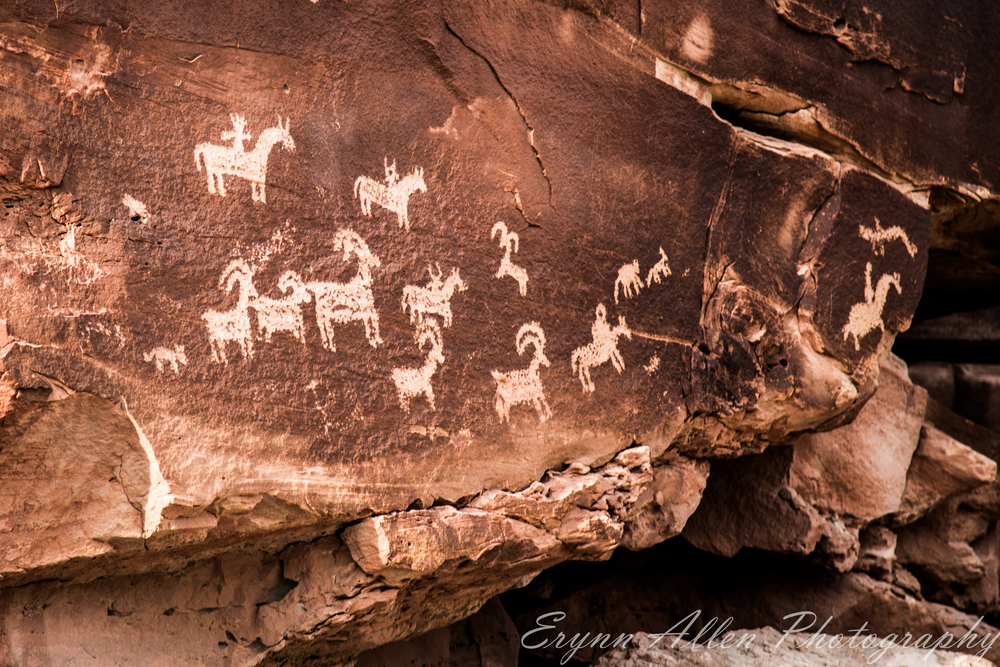 Ute petroglyphs on the trail to Delicate Arch. I like the dog.