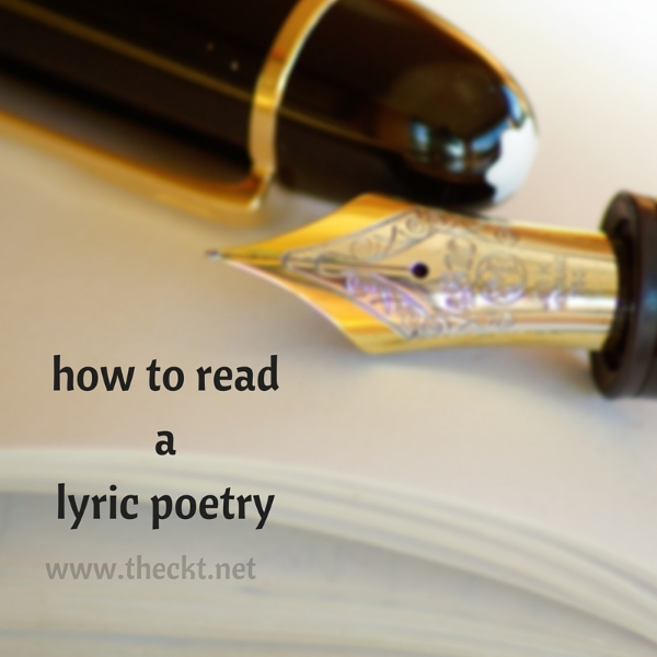 how to read lyric poetry the cocoknot theori