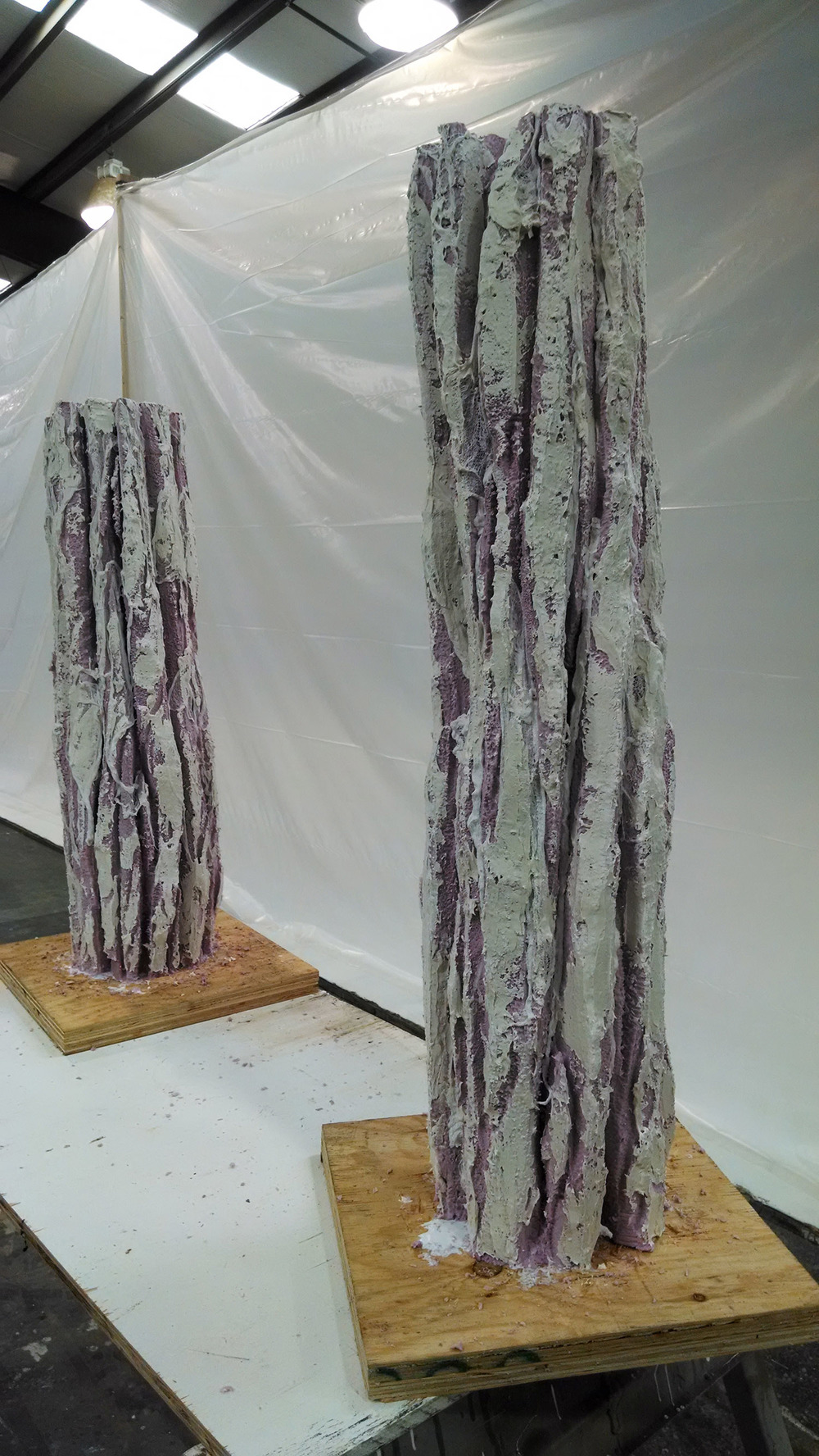 Carved Pilings with Cheesecloth and JC