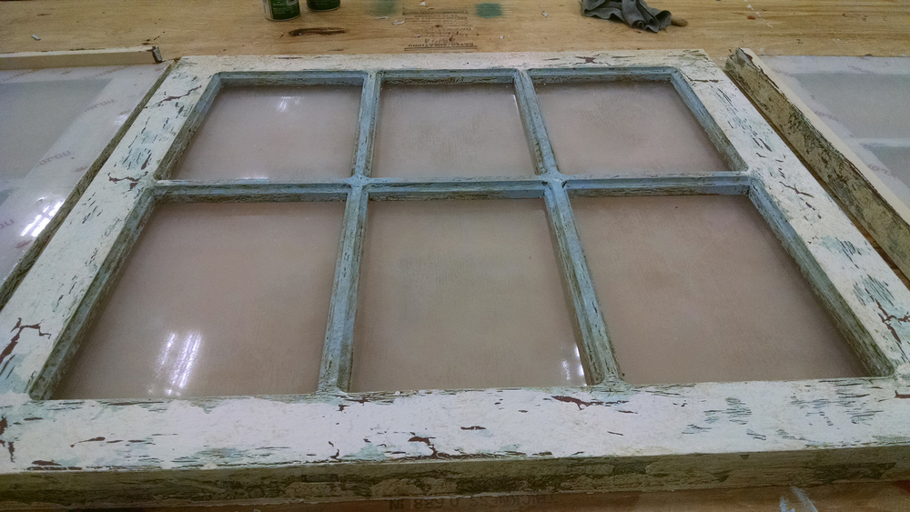 Glue Crackle Treatment on Window