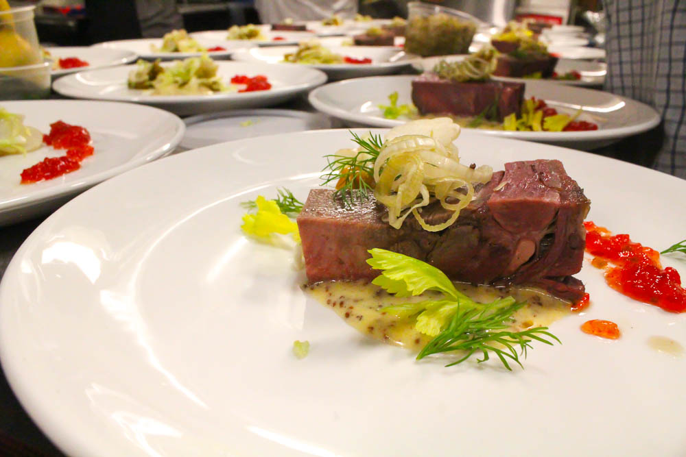 Beef Tongue by Dezi Bonow ~ Palace Kitchen cured & smoked beef tongue, egg yolk mustard, sweet relish, last summer's pickles