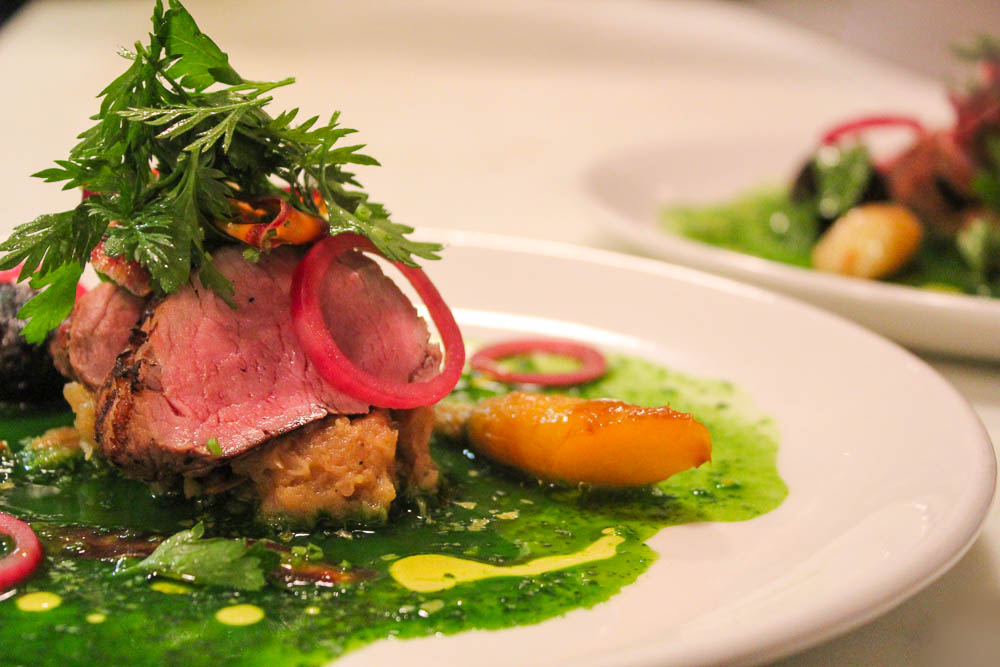 Pork Tenderloin by Mark Young ~ Staple & Fancy roasted pork tenderloin, spring vegetables, lemon, parsley