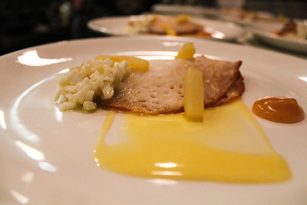 Coconut & Rice Crepe by Erik Jackson ~ Capitol Cider roasted ricotta, smoked apple, green apple curd