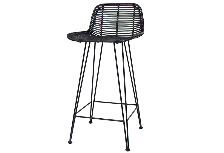 RATTAN BAR STOOL BLACK // $349