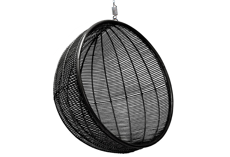RATTAN HANGING BOWL CHAIR BLACK // $799
