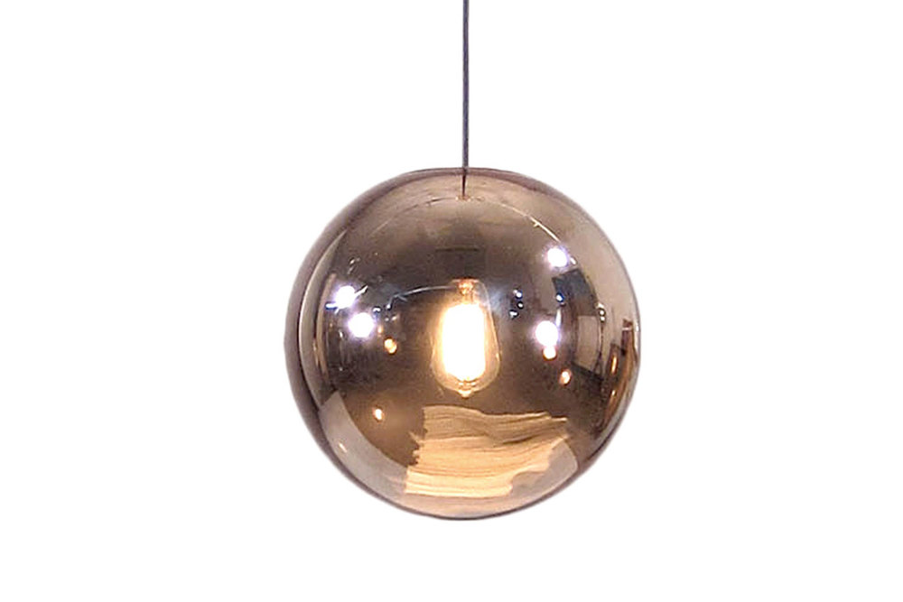 GLAZED BALL LAMP COPPER // $299